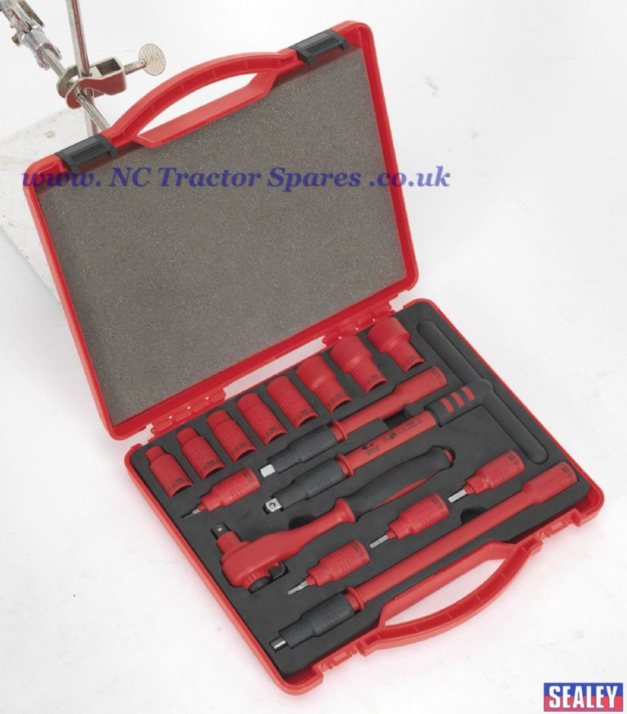 "Insulated Socket Set 16pc 3/8""Sq Drive 6pt Walldrive VDE/TUV/GS Approved"